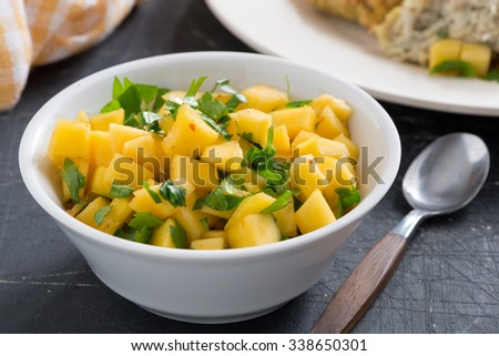 salsa with mango, coriander and curry paste, close-up, horizontal - stock photo