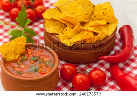 Salsa with tortilla chips and chilli peppers - stock photo