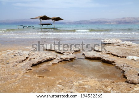 Salt accumulated on the shore of the dead sea in Israel. - stock photo