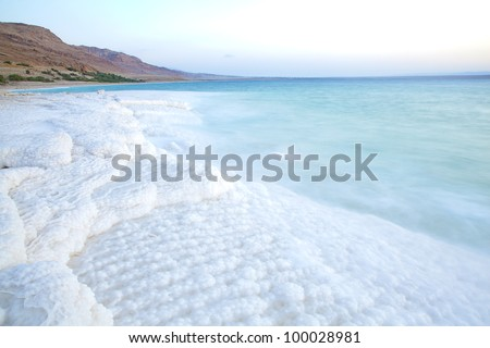 Salt accumulation on the Dead Sea shore in Jordan - stock photo