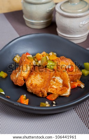 salt and pepper fried tofu - stock photo