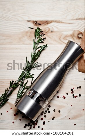 salt and pepper grinders  - stock photo