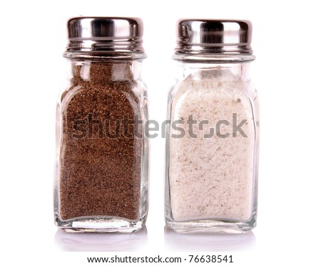 Salt and pepper shaker on a white background - stock photo