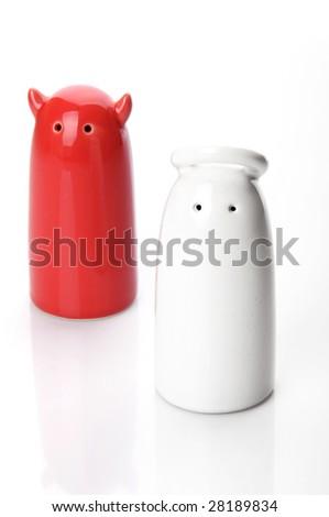 Salt and Pepper Shaker on White - stock photo