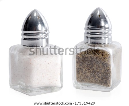 Salt and Pepper Shakers Isolated on a White Background - stock photo