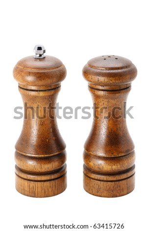 salt and pepper shakers isolated on white with clipping path - stock photo