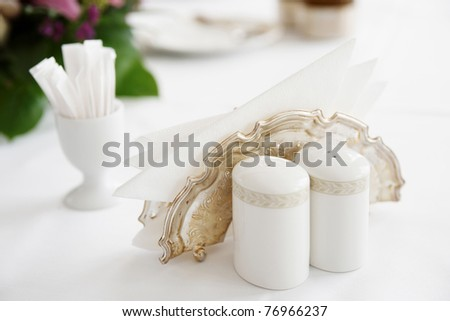 Salt and pepper shakers on a table - stock photo