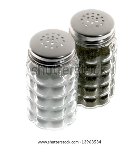 Salt and pepper shakers on white background. - stock photo