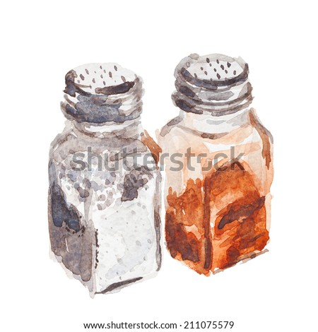 salt and pepper shakers, watercolor illustration - stock photo