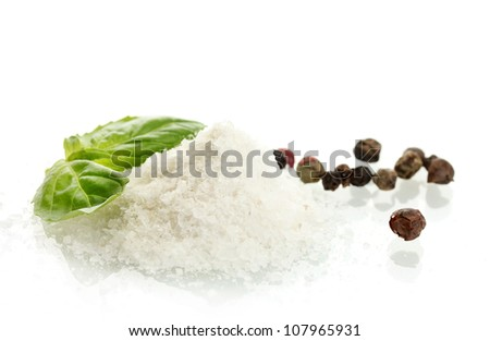 salt and pepper with fresh basil isolated on white - stock photo