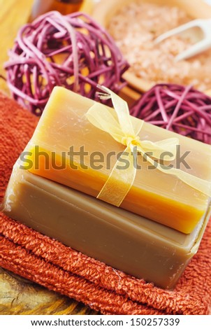 salt and soap - stock photo