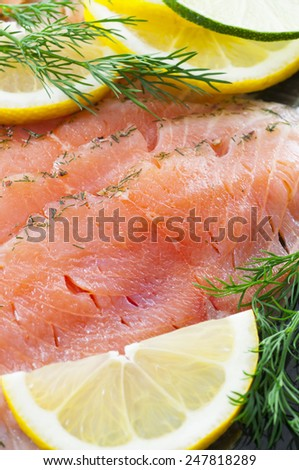 Salt and sugar cured/marinated salmon. - stock photo