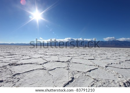 Salt Badwater Formations in Death Valley National Park - stock photo