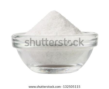 salt bowl on white background - stock photo