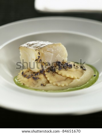 Salt cod with apple mousse, ravioli and parsley oil