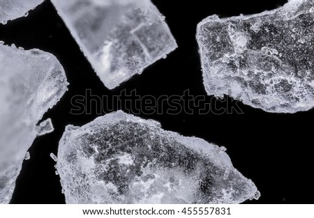 salt crystals under microscope - stock photo