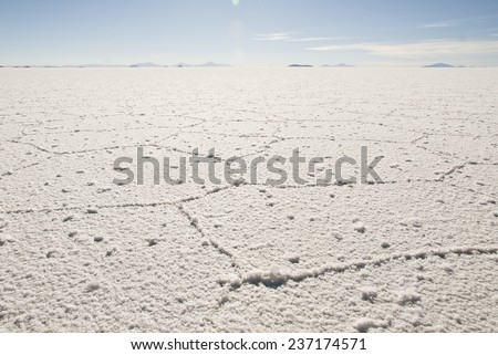 Salt desert Salar de Uyuni in Bolivia. - stock photo