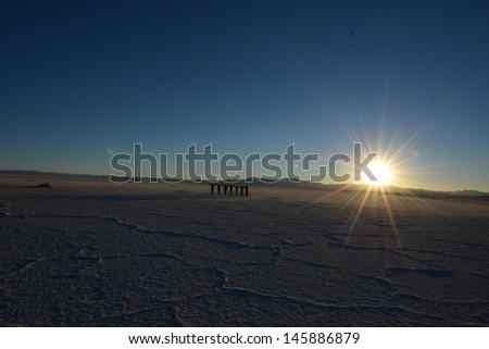 Salt desert Salinas Grandes - stock photo