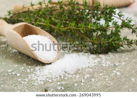 salt, different sizes and savory twigs on rusty wooden table - stock photo