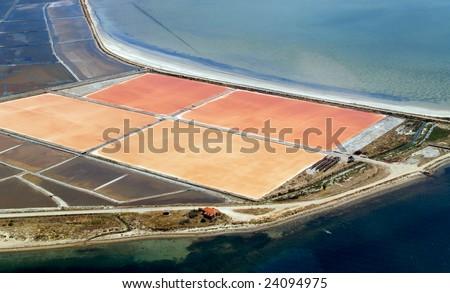Salt evaporation ponds, aerial view - stock photo