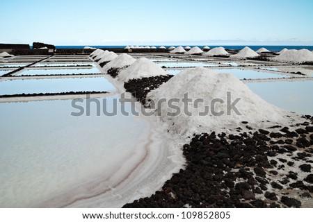 Salt extraction plant at salinas. - stock photo