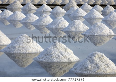 Salt farm and reflections - stock photo