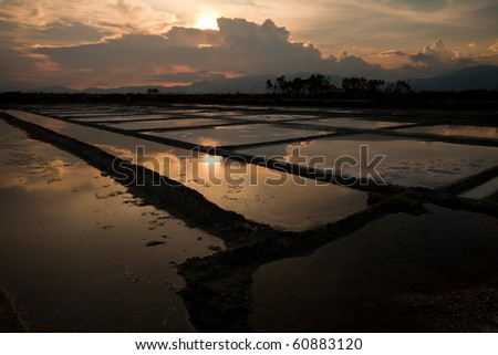 Salt fields north of Nha Trang, Vietnam - stock photo