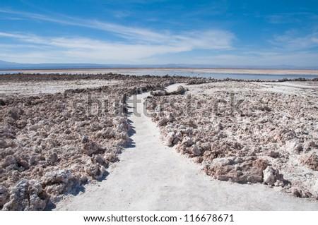 Salt flat of Atacama (Chile) - stock photo