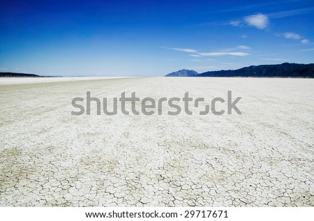 Salt flat playa of the Black Rock Desert east of Gerlach Nevada showing vehicle track marks.