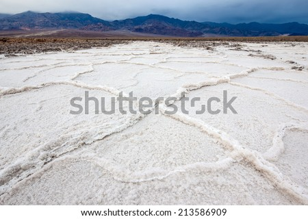 Salt flats in Badwater Basin, Death Valley, California. - stock photo