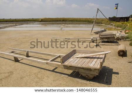 salt flats of Cervia in Emilia Romagna  - stock photo