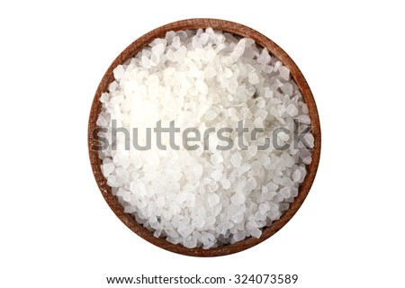 salt in a wooden bowl isolated on white background - stock photo