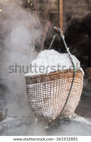 Salt in baskets - stock photo