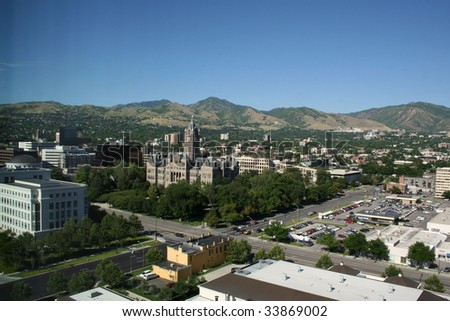 salt lake city and wasatch mountains - stock photo