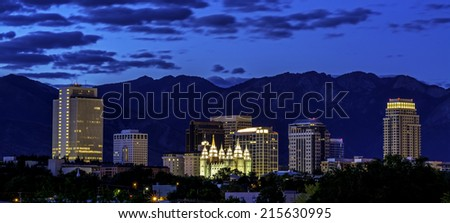 Salt lake city in early morning twilight - stock photo