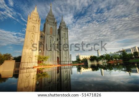 Salt Lake City LDS Temple Morning Glory - stock photo