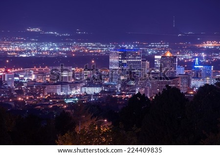 Salt Lake City Night Scenery. Cityscape at Night. City Illumination. - stock photo