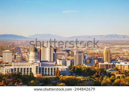 Salt Lake City panoramic overview in the morning - stock photo