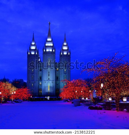 Salt Lake City Temple Square Christmas Lights on Trees and Steeples - stock photo