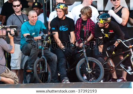 SALT LAKE CITY, UT - SEPTEMBER 19: Dave Mirra, left, looks to the scoreboard in the finals of the BMX park at the 2009 Dew Tour Toyota Challenge on September 19, 2009 held in Salt Lake City, Utah