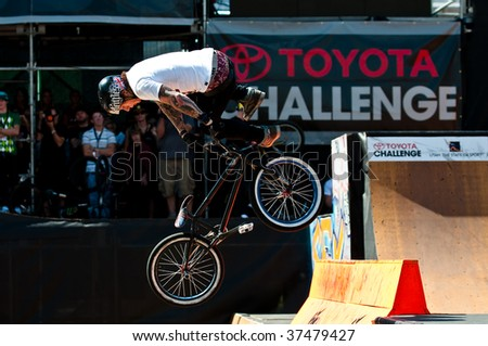 SALT LAKE CITY, UT - SEPTEMBER 19: Mark Webb competes in the finals of the BMX park at the 2009 Dew Tour Toyota Challenge held on September 19, 2009 in Salt Lake City, Utah. - stock photo