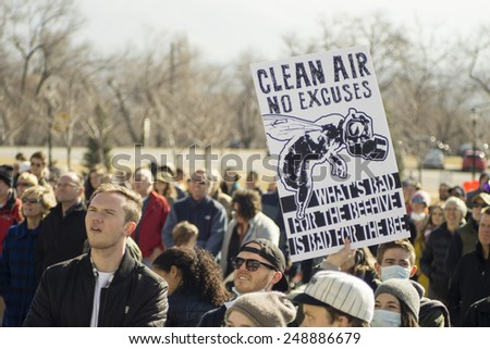 Salt Lake City, UT, USA - January 31, 2015. A crowd gathers in front of the Utah State Capitol building demanding a solution to air pollution in Salt Lake City. - stock photo
