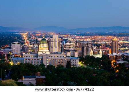Salt Lake City, Utah at night - stock photo