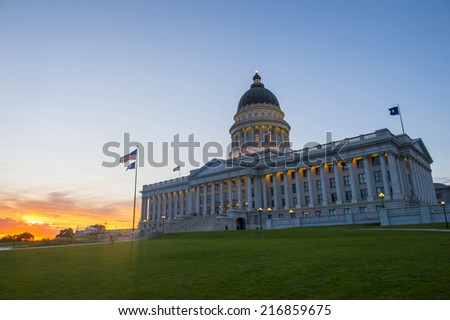 SALT LAKE CITY , UTAH - AUG 29 : Tha State Capitol Building in Salt Lake City, Utah on August 29 2014.The building was designed by architect Richard Kletting, and built between 1912 and 1916.