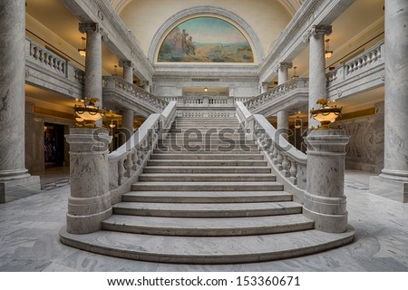 SALT LAKE CITY, UTAH - AUGUST 15: Grand marble staircase leading to the House Chamber of the Utah State Capitol building on Capitol Hill on August 15, 2013 in Salt Lake City - stock photo