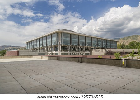 Salt Lake City, Utah - July 11, 2014: The Marriott Library at the University of  Utah in Salt Lake City. - stock photo