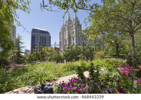 SALT LAKE CITY , UTAH - JULY 22 : The Mormons Temple in Salt Lake City , Utah on July 22 2016. The Salt Lake Temple is the centerpiece of the 10-acre Temple Square in Downtown Salt Lake City.