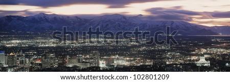 Salt Lake City, Utah skyline at night - stock photo