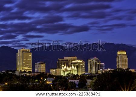 Salt lake City Utah skyline at night - stock photo