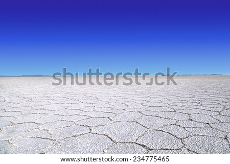 Salt lake of the desert of Uyuni, Bolivia - stock photo